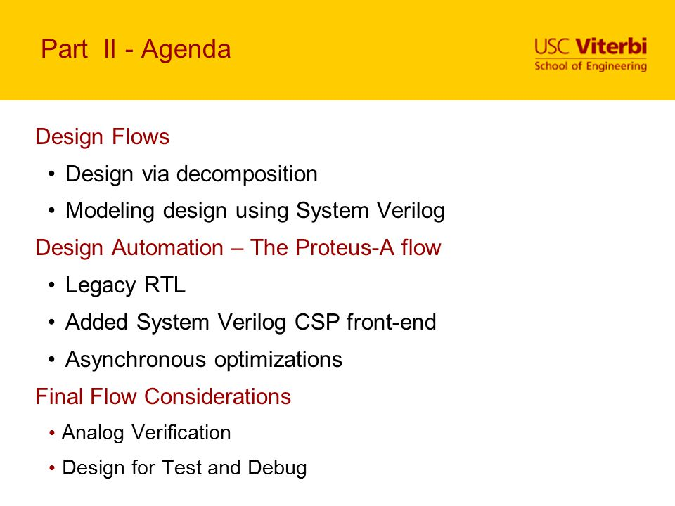 Part II - Agenda Design Flows Design via decomposition