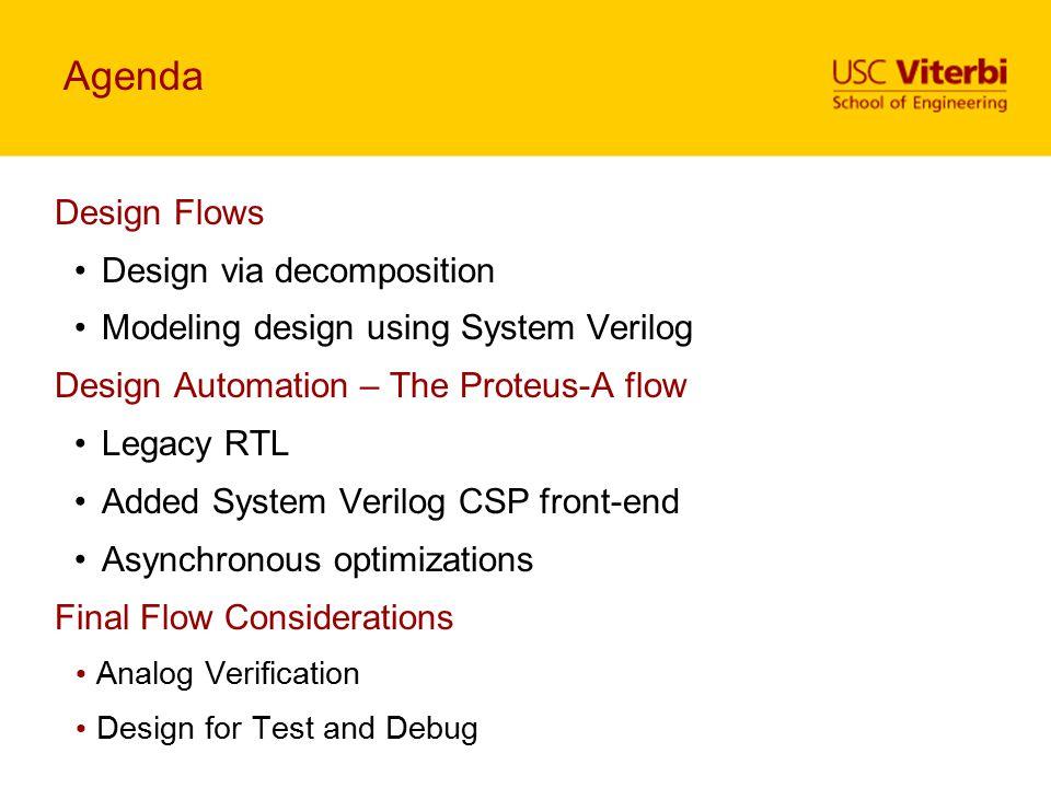 Agenda Design Flows Design via decomposition