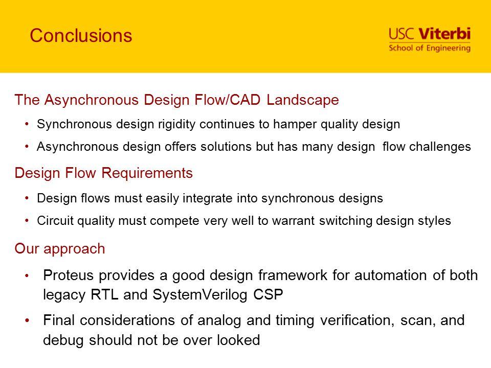 Conclusions The Asynchronous Design Flow/CAD Landscape