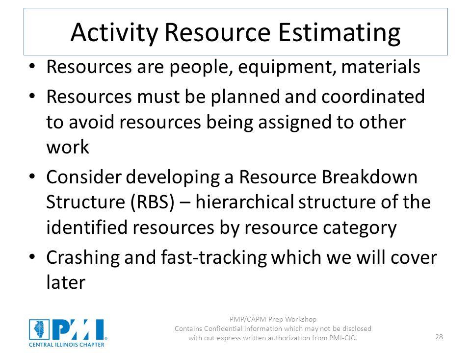 Activity Resource Estimating