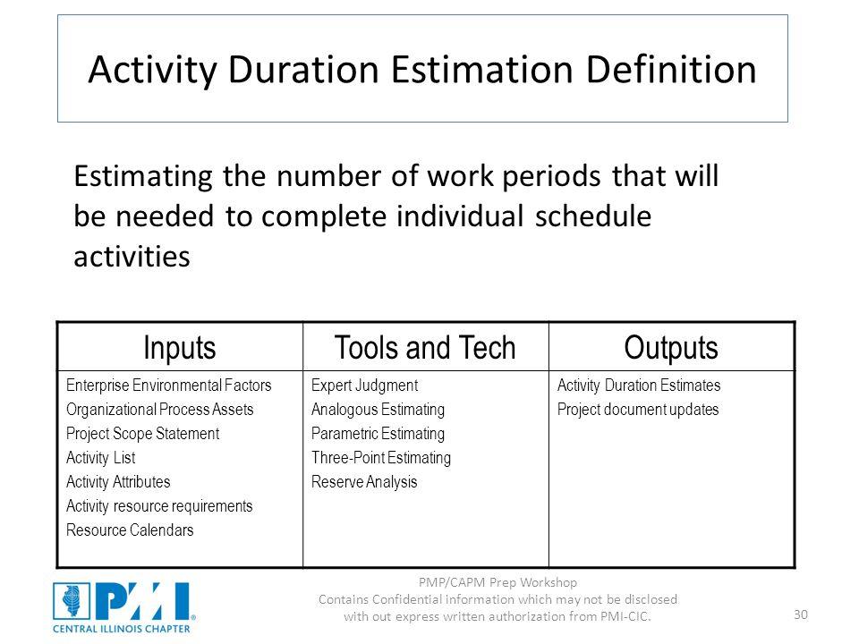 Activity Duration Estimation Definition