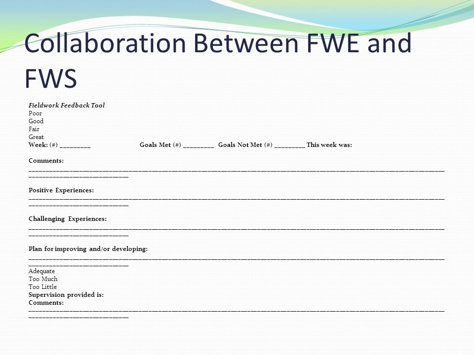 Collaboration Between FWE and FWS