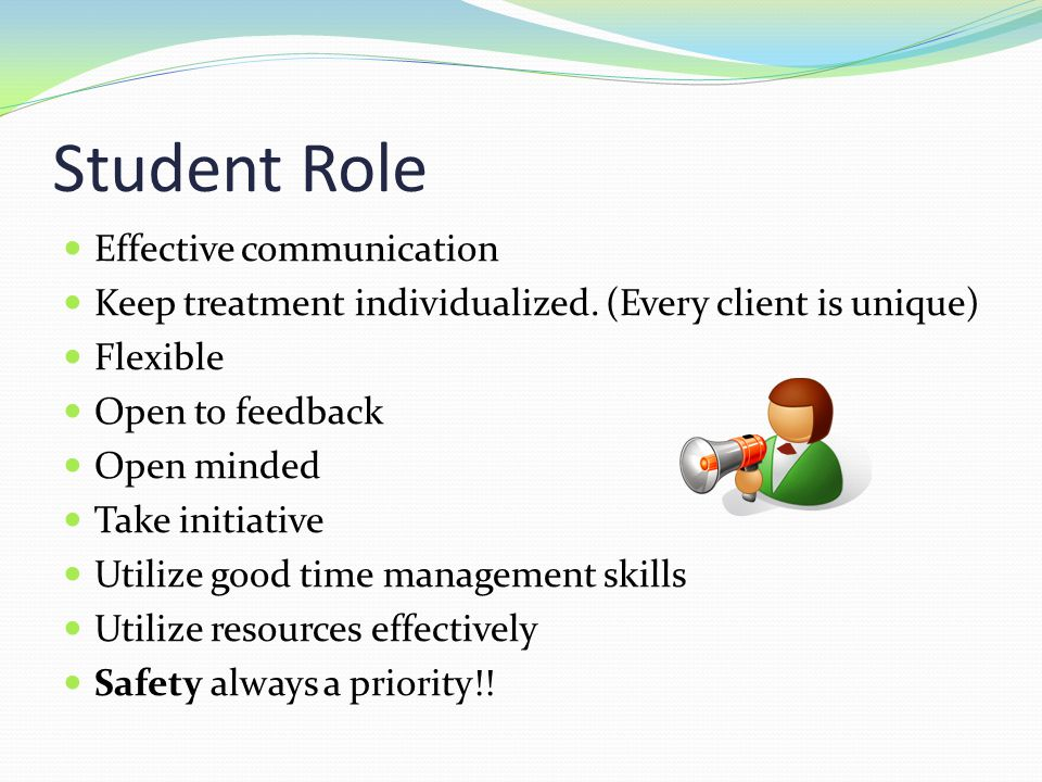 Student Role Effective communication