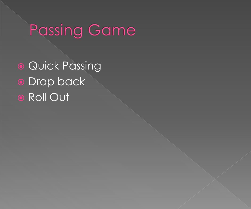 Passing Game Quick Passing Drop back Roll Out
