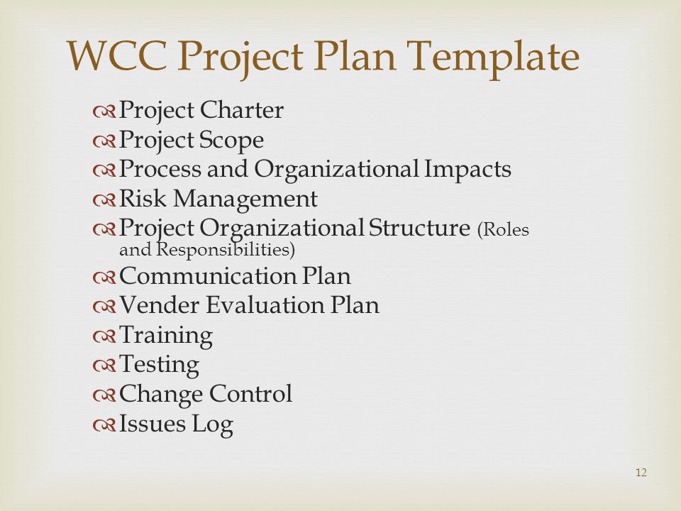WCC Project Plan Template