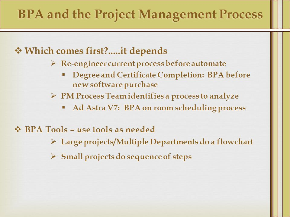 BPA and the Project Management Process