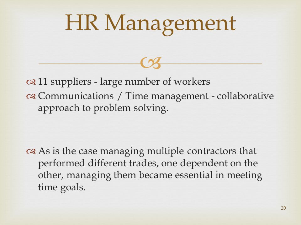 HR Management 11 suppliers - large number of workers