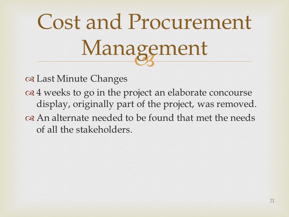 Cost and Procurement Management