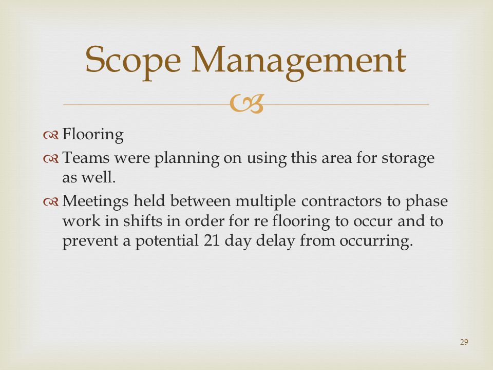 Scope Management Flooring