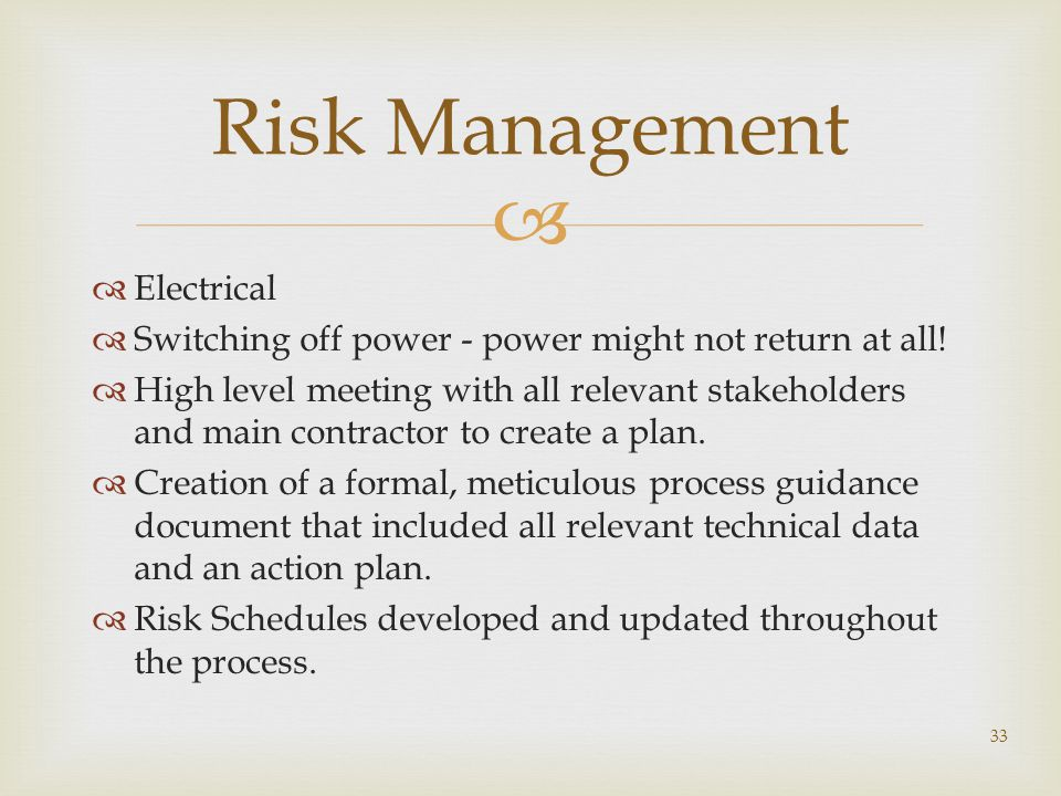 Risk Management Electrical