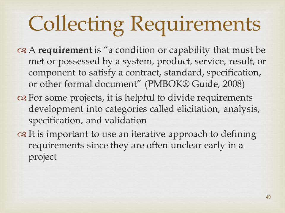 Collecting Requirements