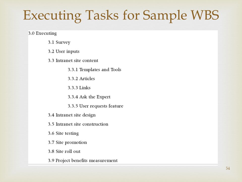 Executing Tasks for Sample WBS