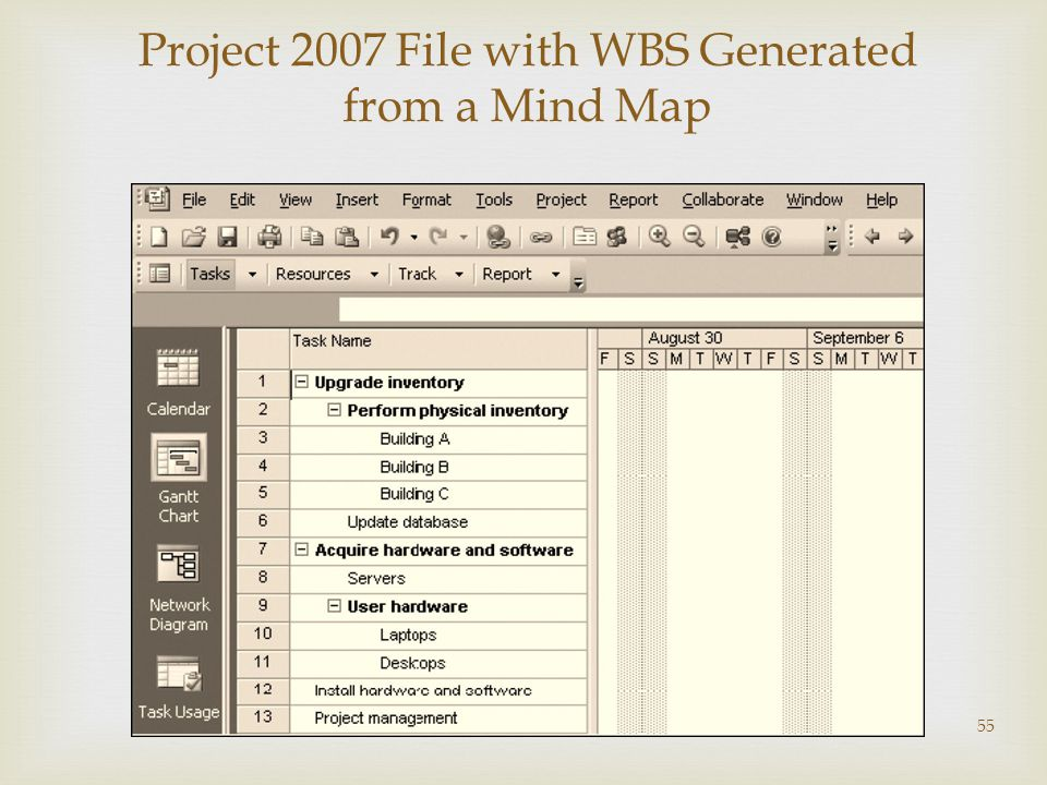 Project 2007 File with WBS Generated from a Mind Map