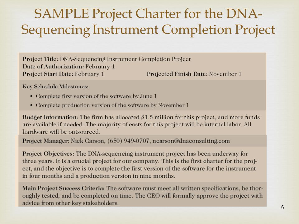 SAMPLE Project Charter for the DNA-Sequencing Instrument Completion Project
