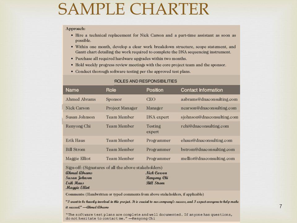 SAMPLE CHARTER