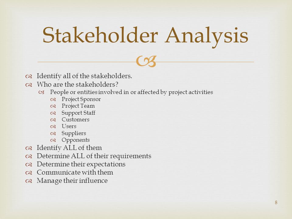 Stakeholder Analysis Identify all of the stakeholders.