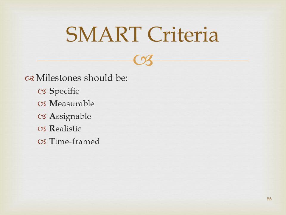 SMART Criteria Milestones should be: Specific Measurable Assignable