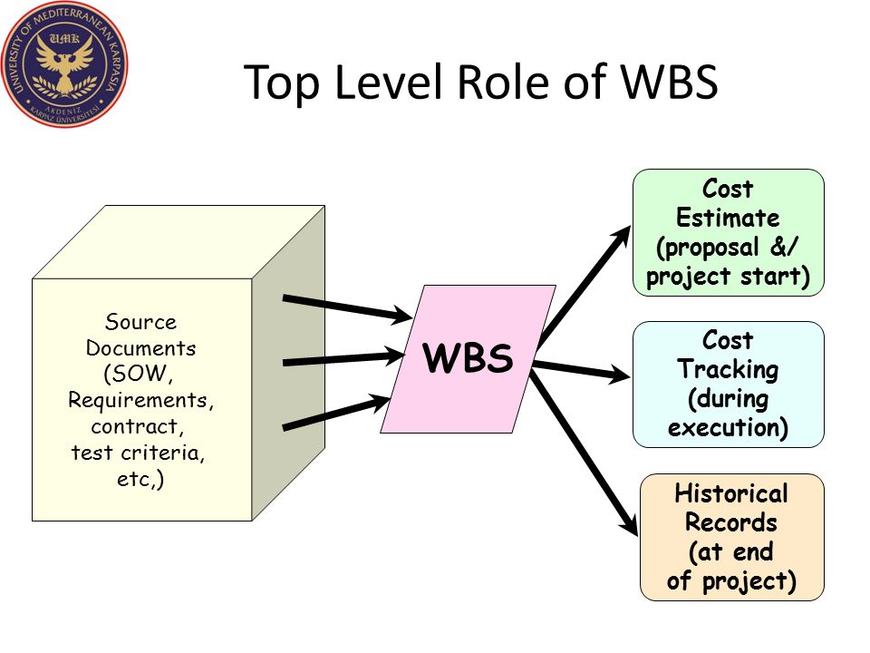 Top Level Role of WBS WBS Cost Estimate (proposal &/ project start)