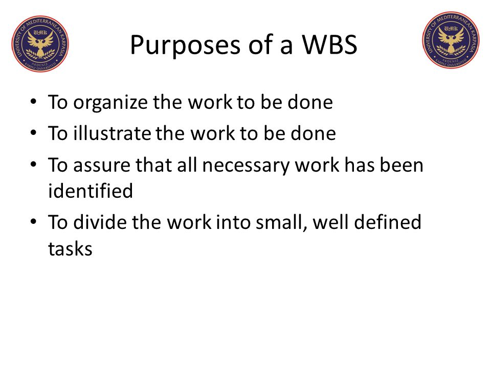 Purposes of a WBS To organize the work to be done