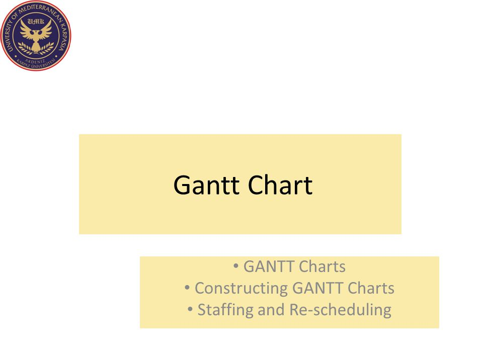 GANTT Charts Constructing GANTT Charts Staffing and Re-scheduling