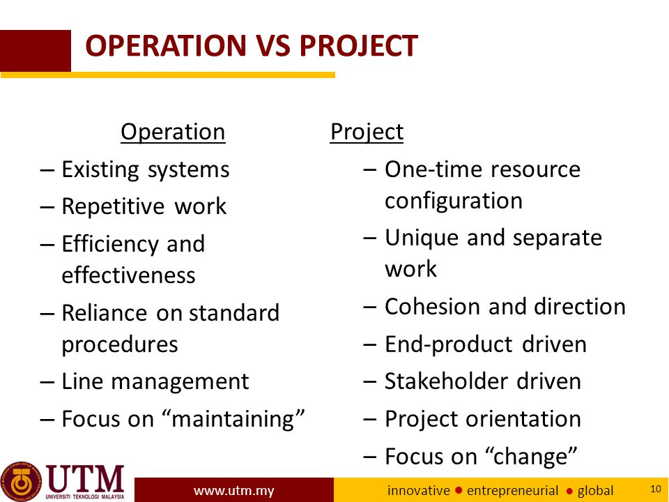 OPERATION VS PROJECT Operation Existing systems Repetitive work