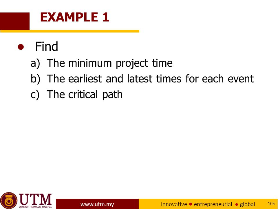 EXAMPLE 1 Find The minimum project time