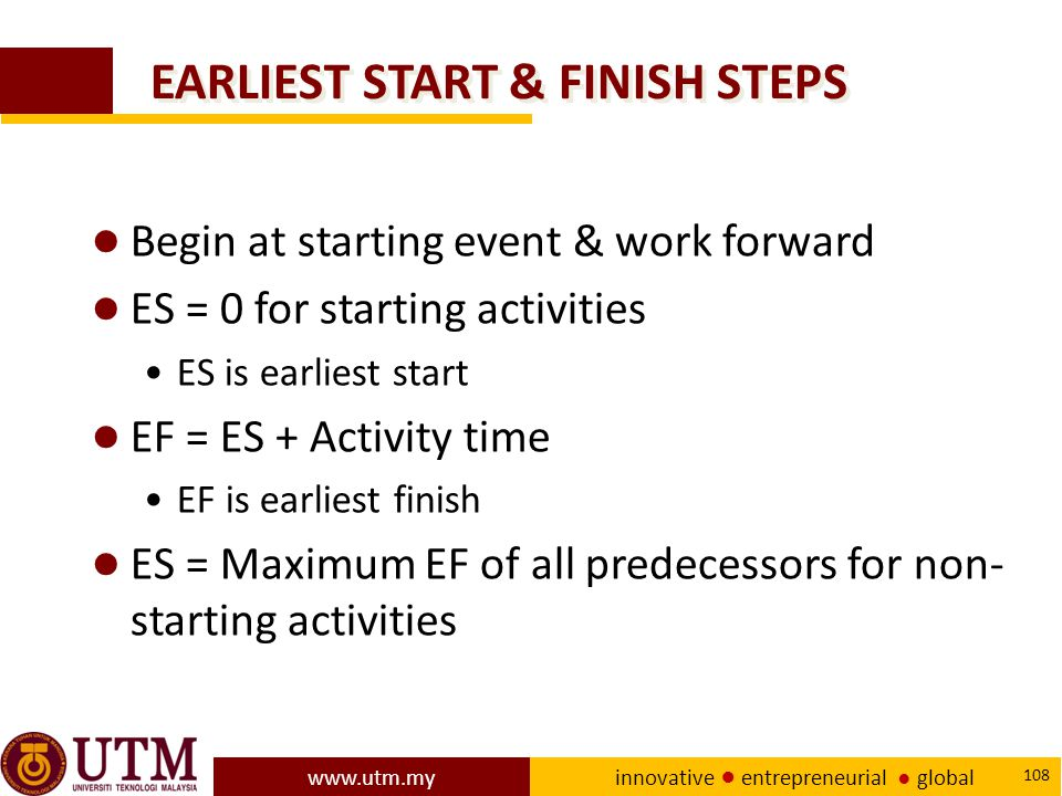 EARLIEST START & FINISH STEPS