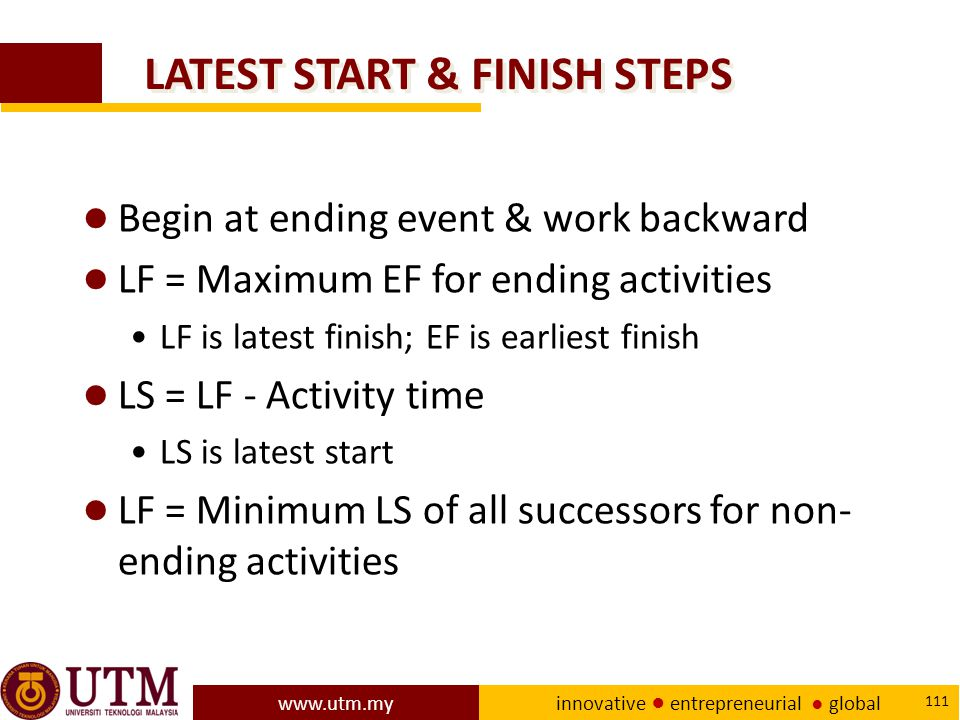 LATEST START & FINISH STEPS