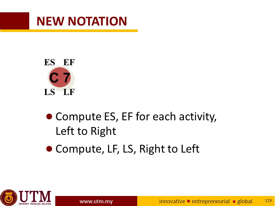 NEW NOTATION C 7 Compute ES, EF for each activity, Left to Right