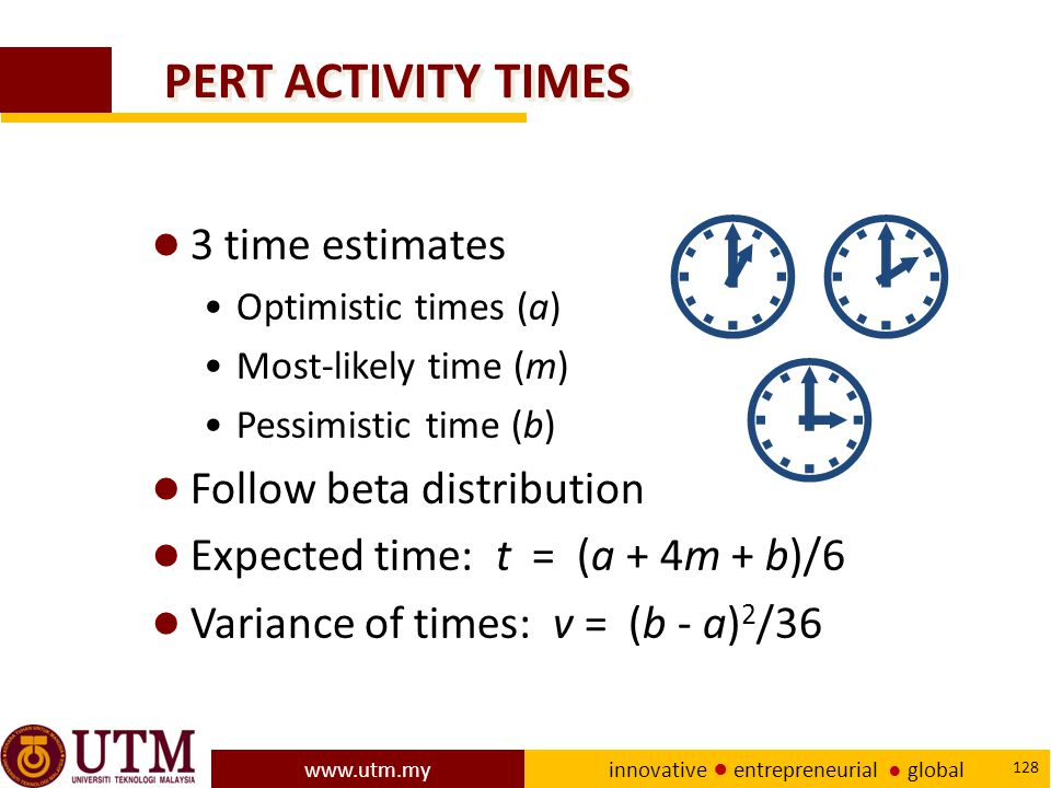  PERT ACTIVITY TIMES 3 time estimates Follow beta distribution