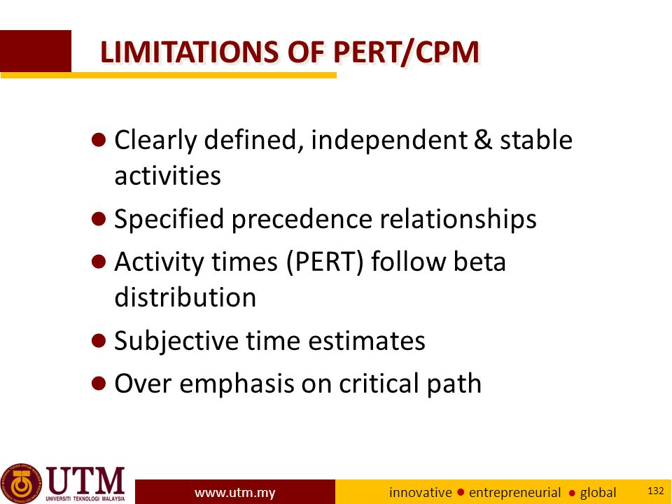 LIMITATIONS OF PERT/CPM