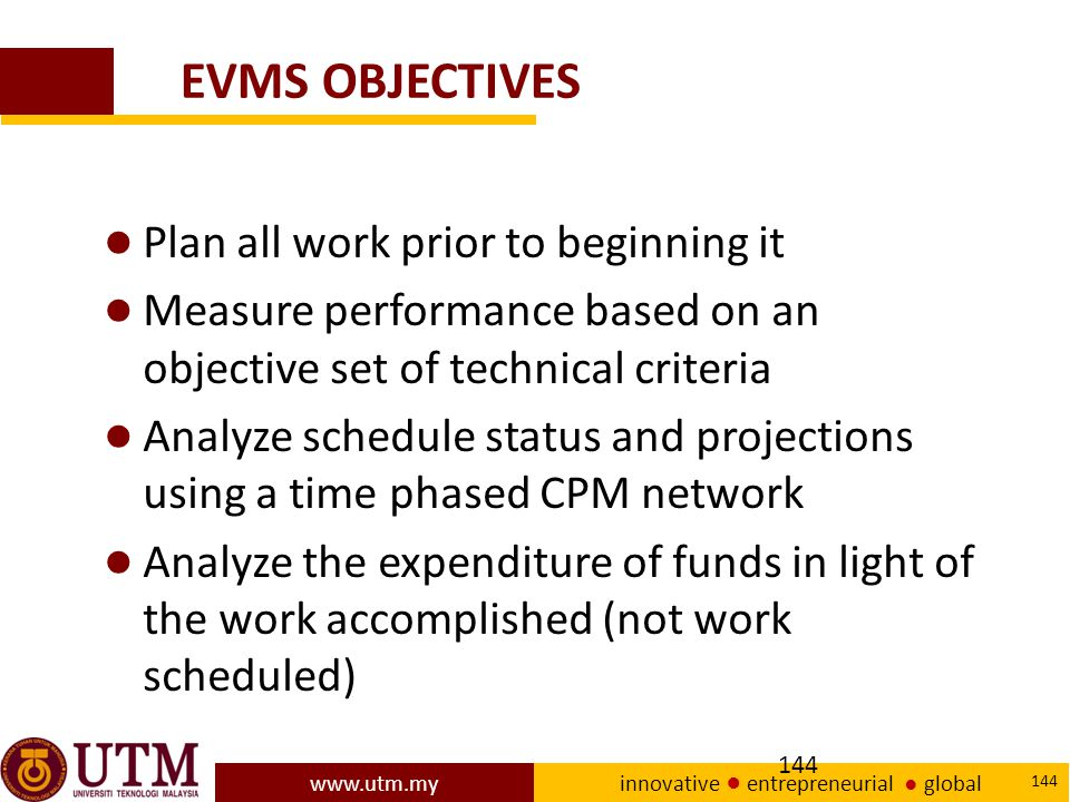 EVMS OBJECTIVES Plan all work prior to beginning it