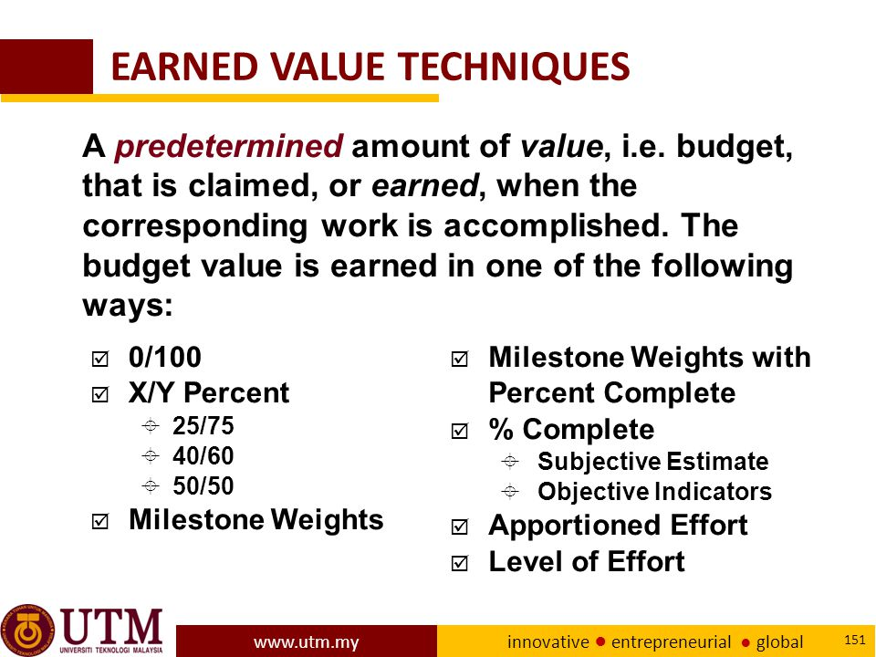 EARNED VALUE TECHNIQUES