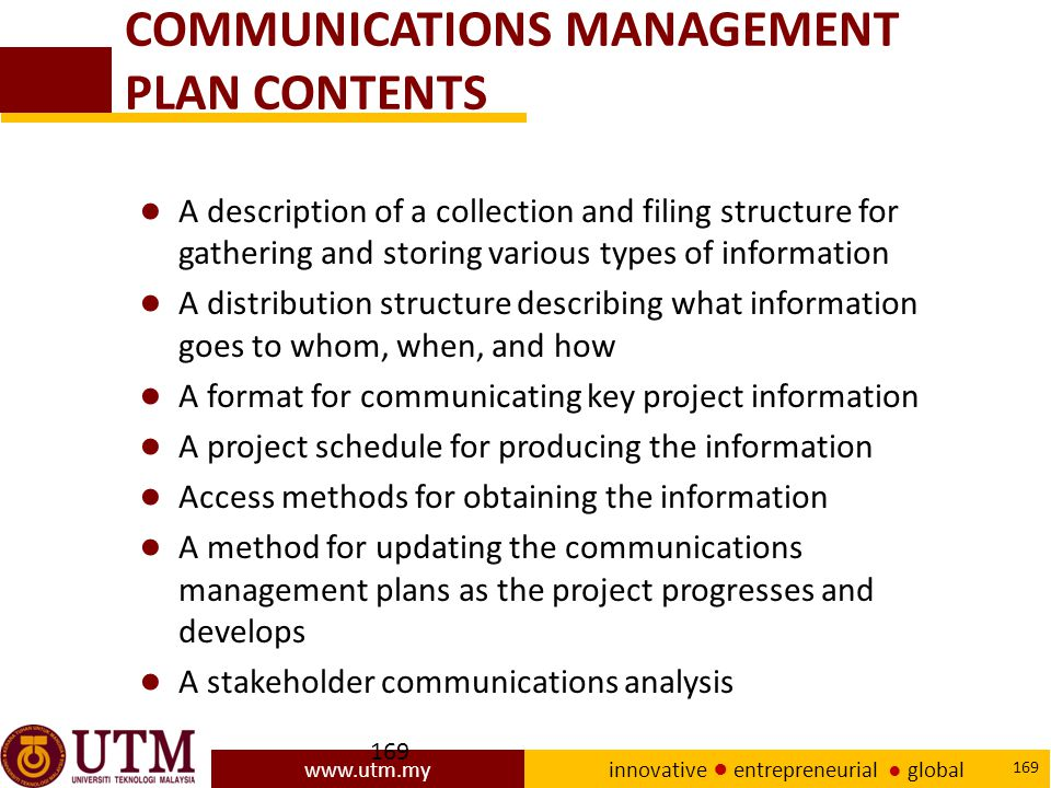 COMMUNICATIONS MANAGEMENT PLAN CONTENTS
