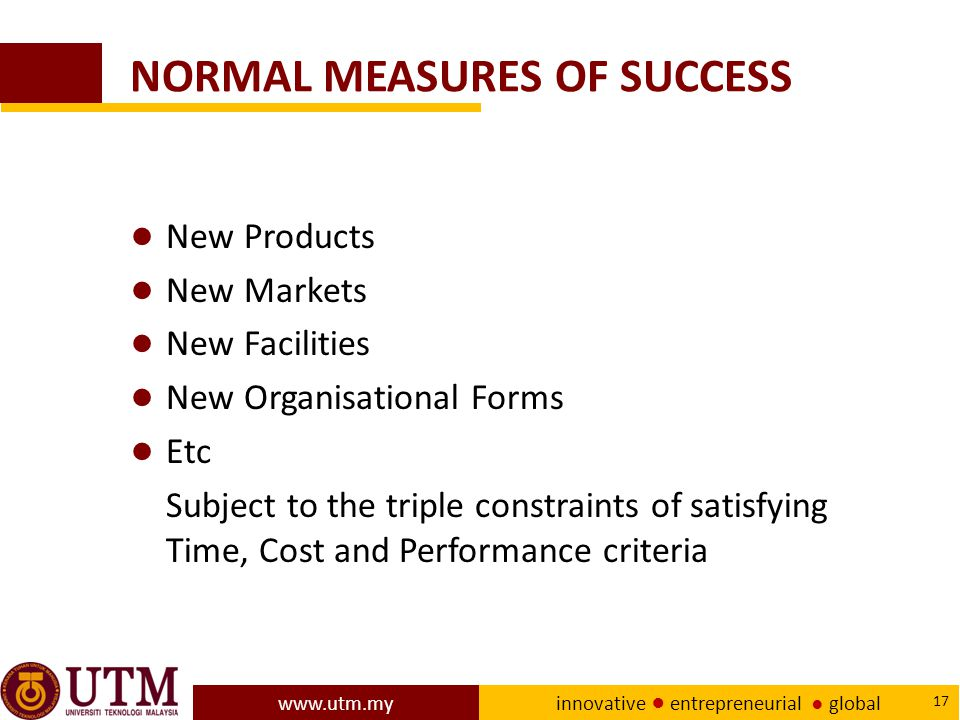 NORMAL MEASURES OF SUCCESS