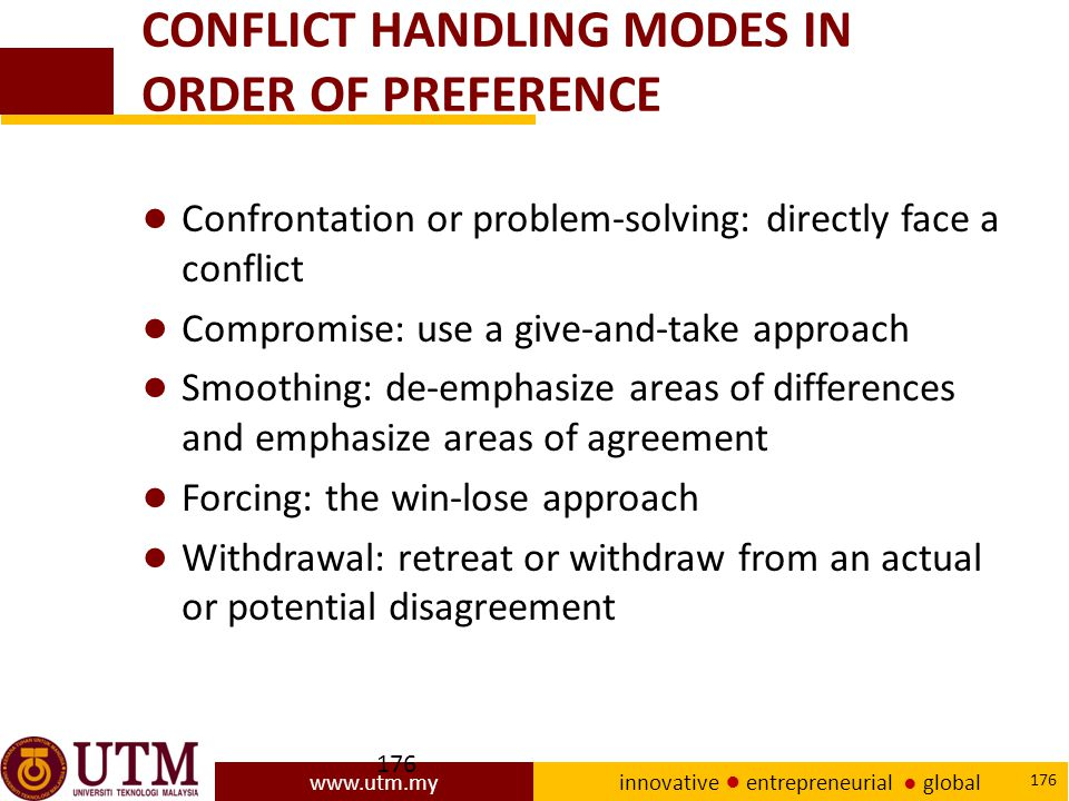 CONFLICT HANDLING MODES IN ORDER OF PREFERENCE