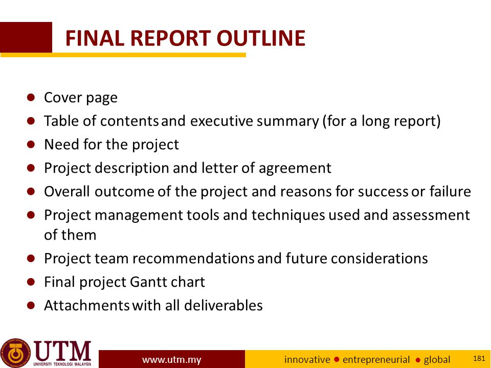 FINAL REPORT OUTLINE Cover page