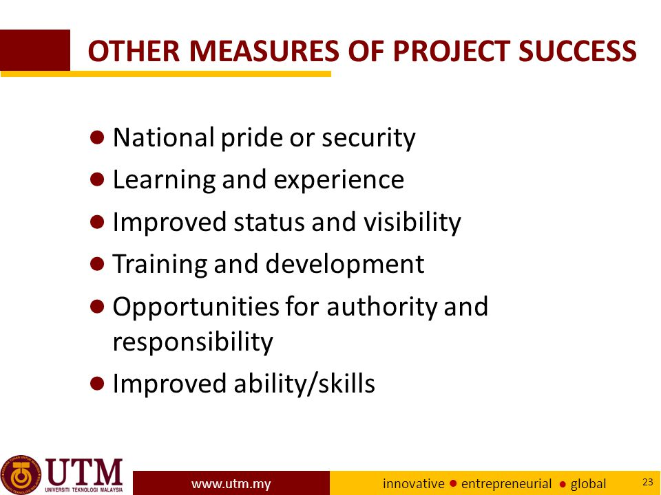 OTHER MEASURES OF PROJECT SUCCESS