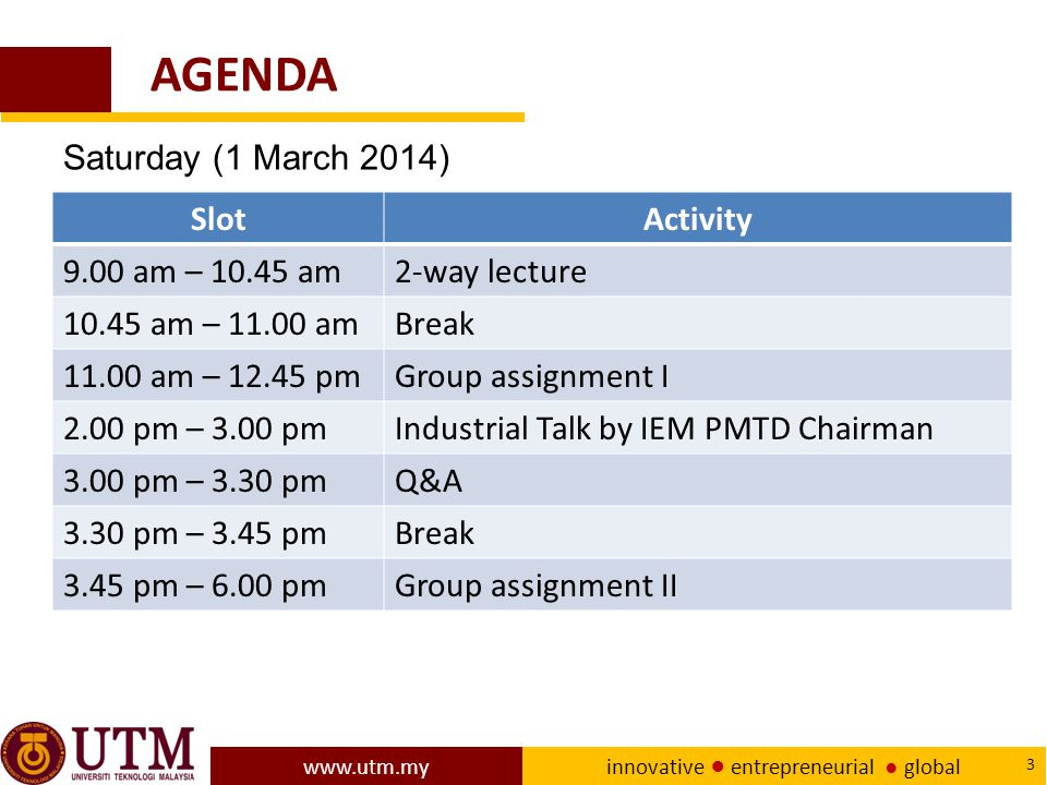 AGENDA Saturday (1 March 2014) Slot Activity 9.00 am – 10.45 am