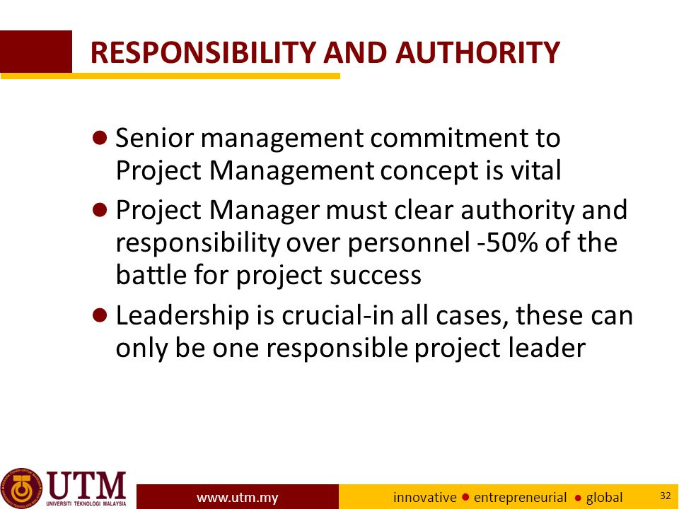 RESPONSIBILITY AND AUTHORITY
