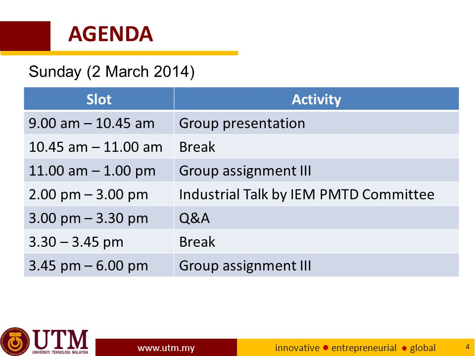 AGENDA Sunday (2 March 2014) Slot Activity 9.00 am – 10.45 am