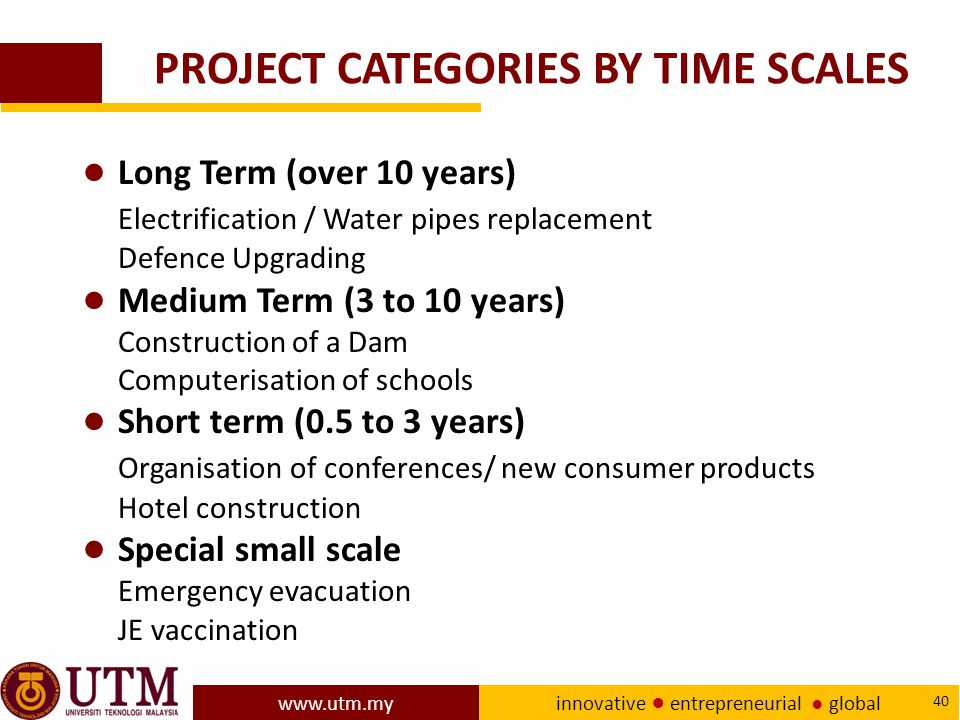 PROJECT CATEGORIES BY TIME SCALES