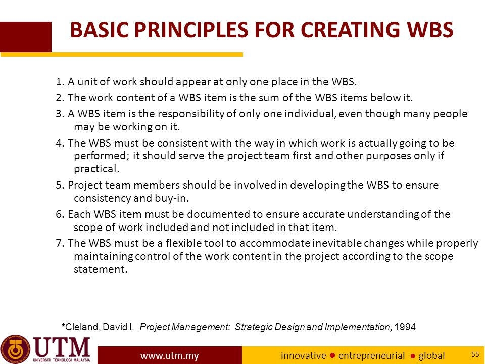BASIC PRINCIPLES FOR CREATING WBS