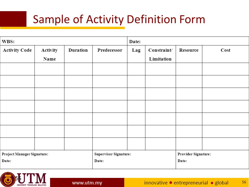 Sample of Activity Definition Form