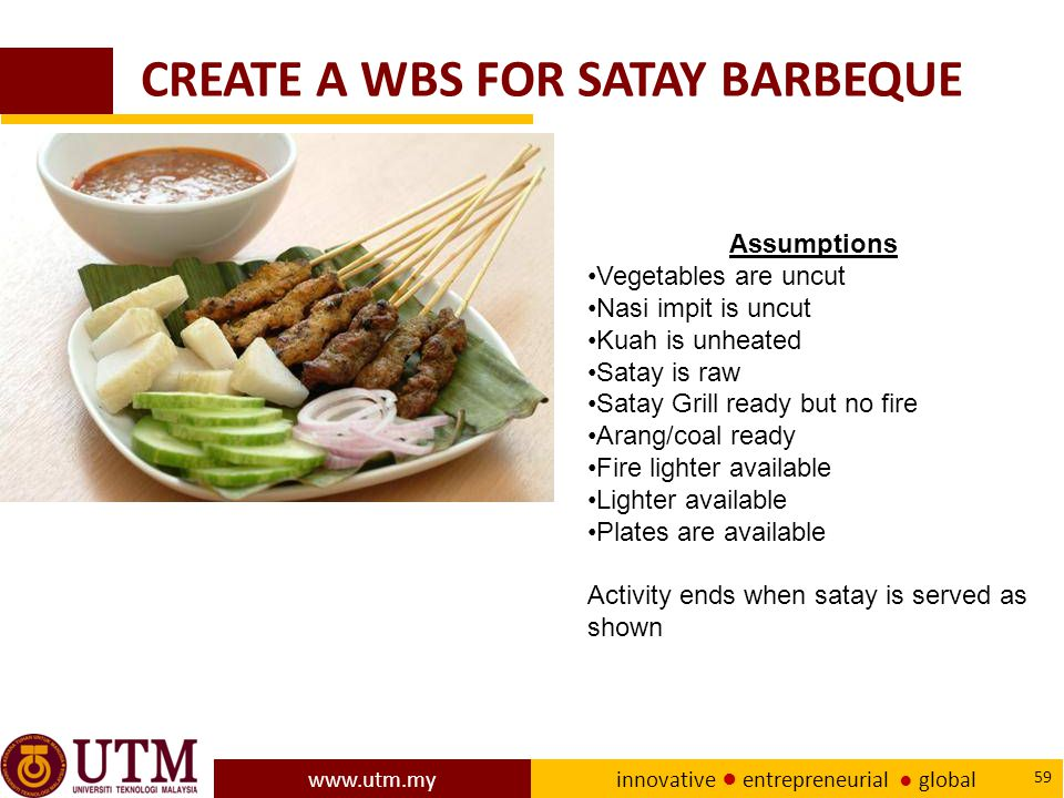 CREATE A WBS FOR SATAY BARBEQUE
