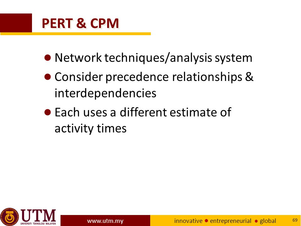 PERT & CPM Network techniques/analysis system