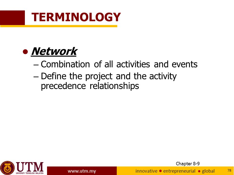 TERMINOLOGY Network Combination of all activities and events