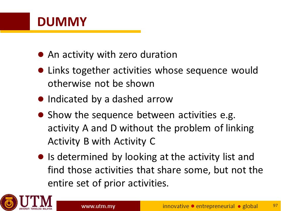 DUMMY An activity with zero duration