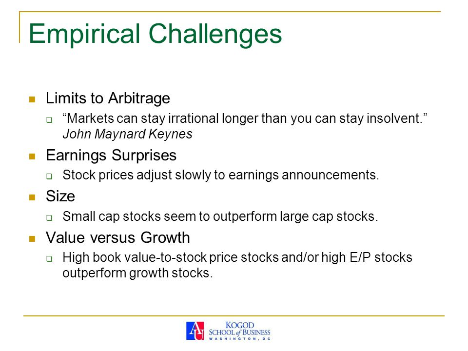 Empirical Challenges Limits to Arbitrage Earnings Surprises Size
