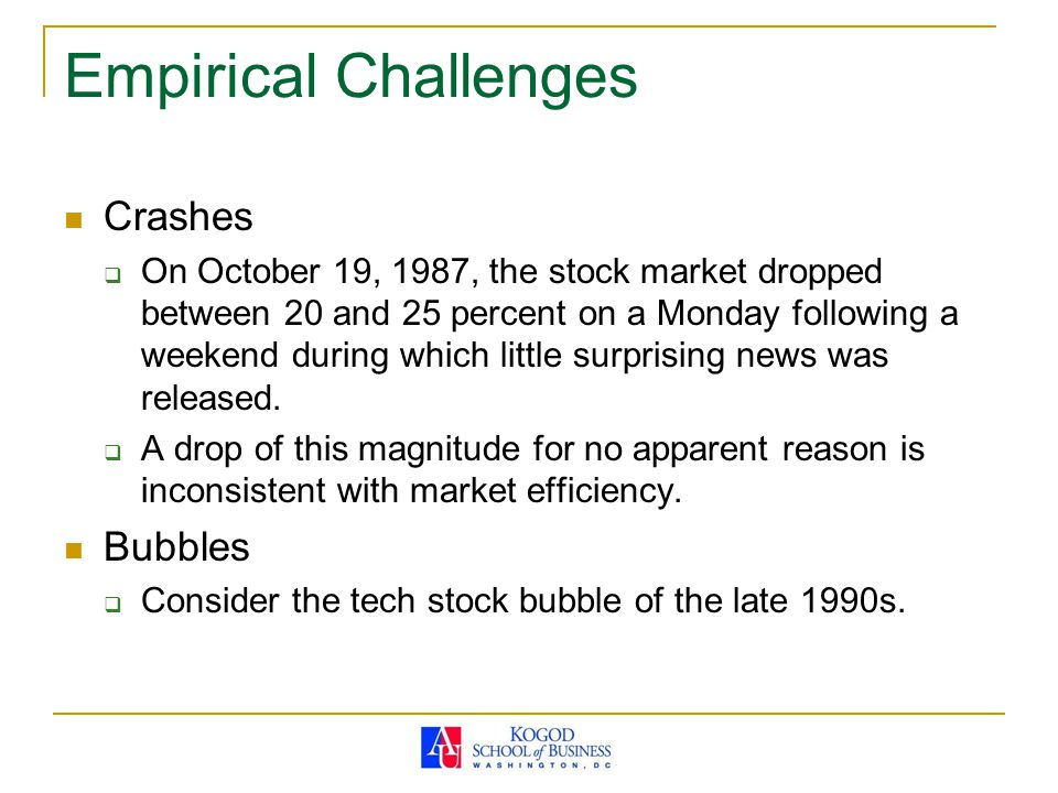 Empirical Challenges Crashes Bubbles